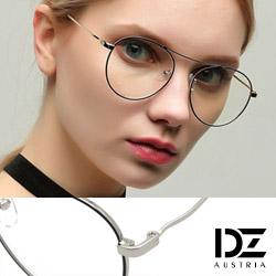DZ 獨特高樑細線框 平光眼鏡(銀框黑線飾-無鏡片)