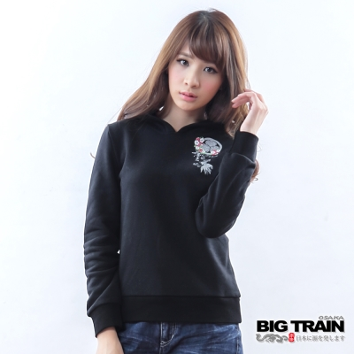 BIG TRAIN 女款 金魚墨達人連帽TEE-黑