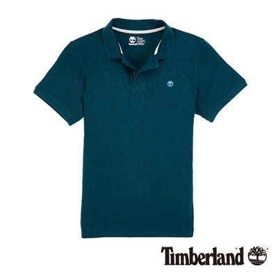 Timberland-男款藍綠色素面刺繡短袖POLO衫