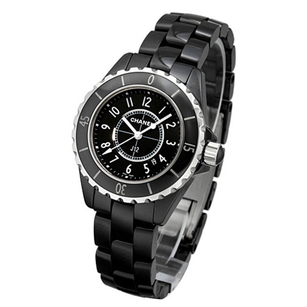 CHANEL 香奈兒 J12 H0682 陶瓷石英女錶-黑/33mm