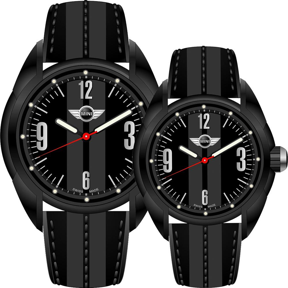 MINI Swiss Watches   休閒運動造型對錶-黑/45+38mm