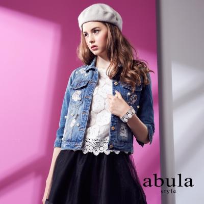 abula-style-韓風花朵蕾絲浪漫女人味短款