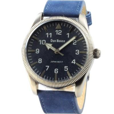 Don Bosco 懷舊飛行麂皮中性腕錶-深藍/42mm