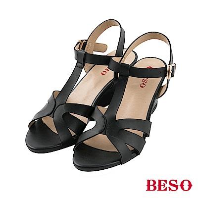 BESO清夏涼感 立體層次T帶編織楔型涼鞋~黑