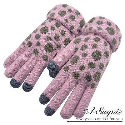 A-Surpriz-可愛斑點針織保暖觸控手套-淺粉
