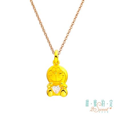 甜蜜約定 Doraemon 唯一哆啦A夢黃金墜子 送玫瑰鋼項鍊