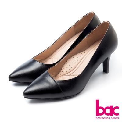 bac經典女郎優雅尖頭收領式素面高跟鞋黑