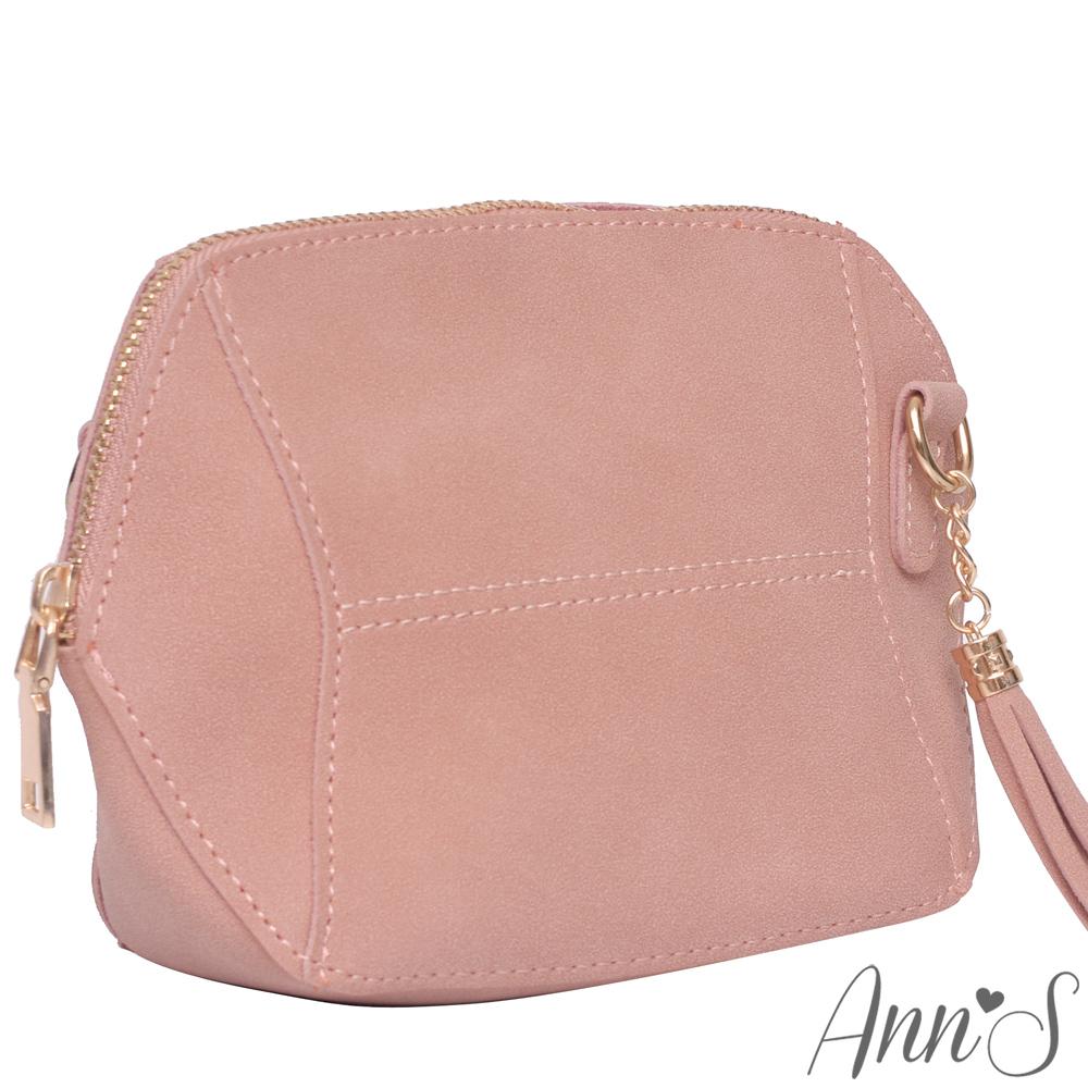 Ann'S SWEET立體拼接素面流蘇肩背小包-粉