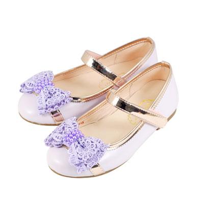 Swan天鵝童鞋-真皮蕾絲蝴蝶節玫瑰金邊娃娃鞋 3832-紫