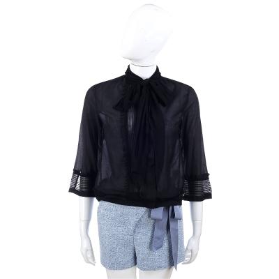 SCERVINO 黑色蝴蝶結領絲質襯衫