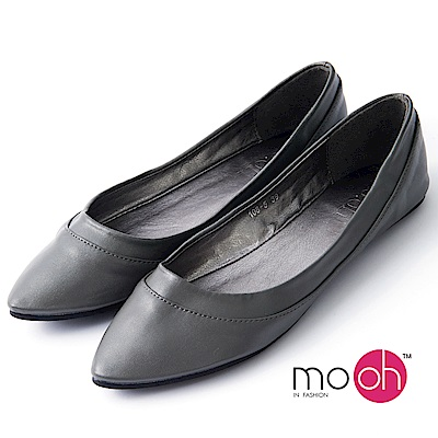 mo.oh-尖頭柔軟素面百搭娃娃鞋-灰色