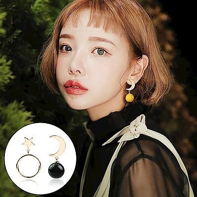 梨花HaNA 韓國S925銀針星月之海不對襯飾球耳環