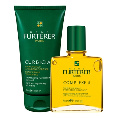 *RENE FURTERER 油頭深層護理組(葫蘆沁衡髮浴150m+5號精油50ml)