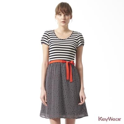 KeyWear奇威名品-水玉點點撞條紋休閒短袖洋裝