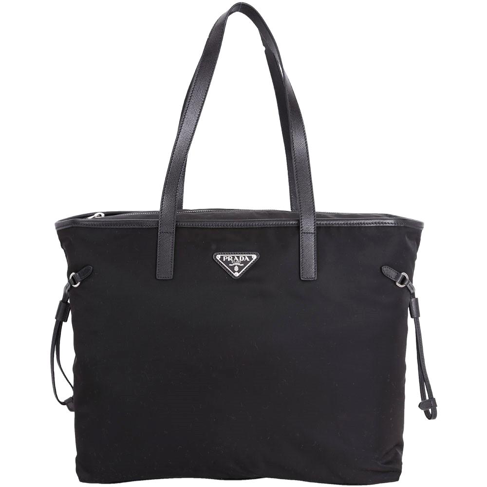 (無卡分期12期) PRADA Vela 三角牌抽繩設計拉鍊尼龍托特包(黑色)
