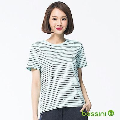 bossini女裝-印花圓領短袖上衣02淡藍