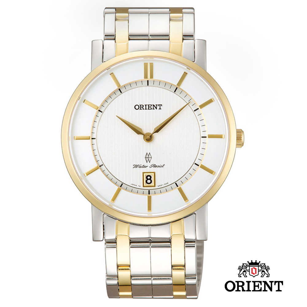 ORIENT 東方錶 SLIM系列 超薄藍寶石鏡面石英錶 鋼帶款 白面 - 38mm