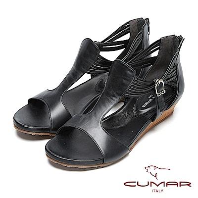 CUMAR秀麗典雅-時尚品味真皮坡跟涼鞋-黑色