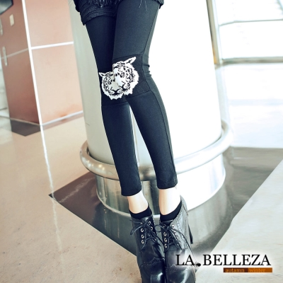 【La Belleza】老虎頭拼接針織厚棉材質內搭褲