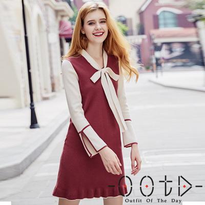 蝴蝶結繫帶雙色針織連身裙 (酒紅色)-OOTD
