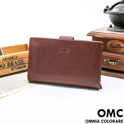 OMC - 韓國時尚精工牛皮原皮多卡零錢式中夾