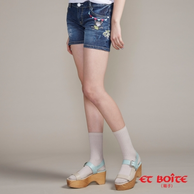 ETBOITE 箱子 BLUE WAY 夏威夷娃短褲-深藍