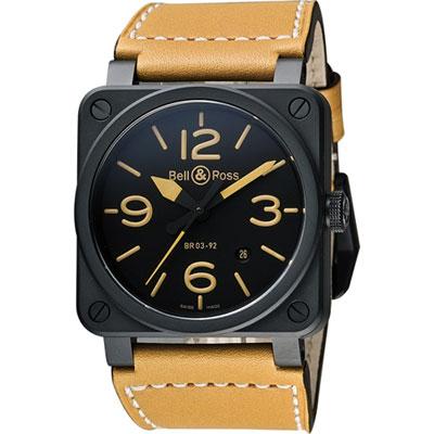 Bell & Ross Aviation 軍事飛行陶瓷機械腕錶-黑x卡其/42mm