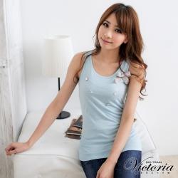 Victoria 燙鑽項鍊背心-女-水藍