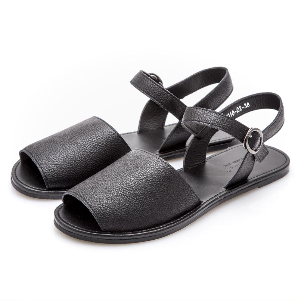 JMS-韓版簡約 寬面魚口平底涼鞋-黑色