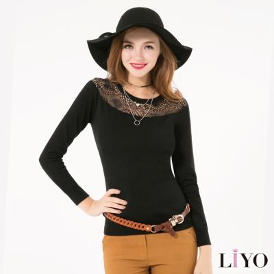 LIYO理優歐風蕾絲拼接針織上衣(黑色)
