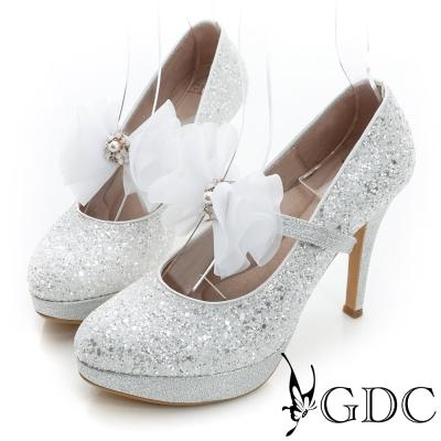 GDC幸福-繫帶蝴蝶結亮片真皮高跟鞋(婚鞋)-銀色