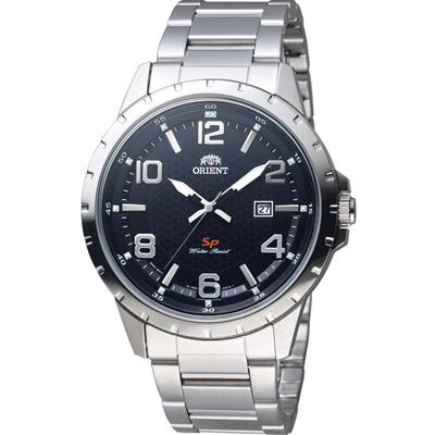 ORIENT東方錶SP系列阿拉伯數字日期顯示運動石英錶-黑色/43.9mm
