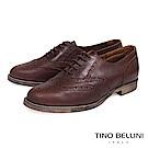 Tino Bellini 義大利經典真皮雕花牛津鞋_ 咖