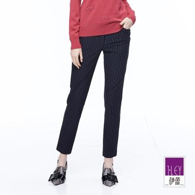 ILEY伊蕾 簡約條紋中腰九分窄管褲魅力價商品(藍)
