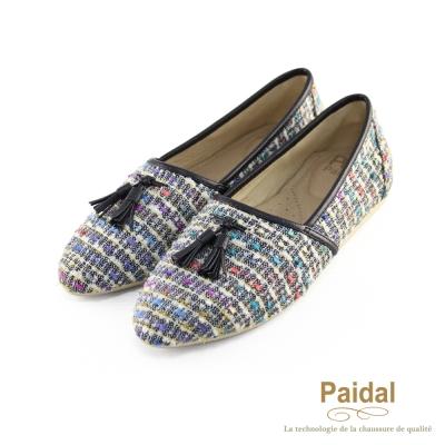 paidal-復古針織流蘇尖頭鞋包鞋樂福鞋-黑