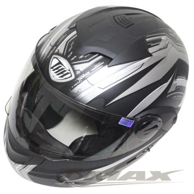 THH新一代駭客全罩半罩可掀式雙鏡片安全帽 T797A+-黑銀XL