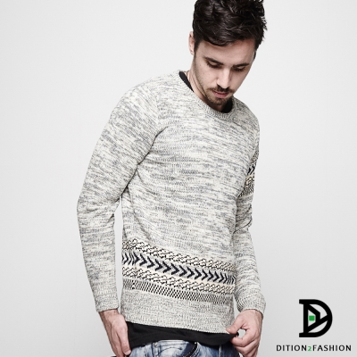 DITION 英倫ASOS民俗風單邊菱格毛衣 保暖麻花針織衫