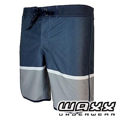WAXX 經典系列鋼鐵英雄拼接快乾男衝浪褲-海藍灰(18英吋)
