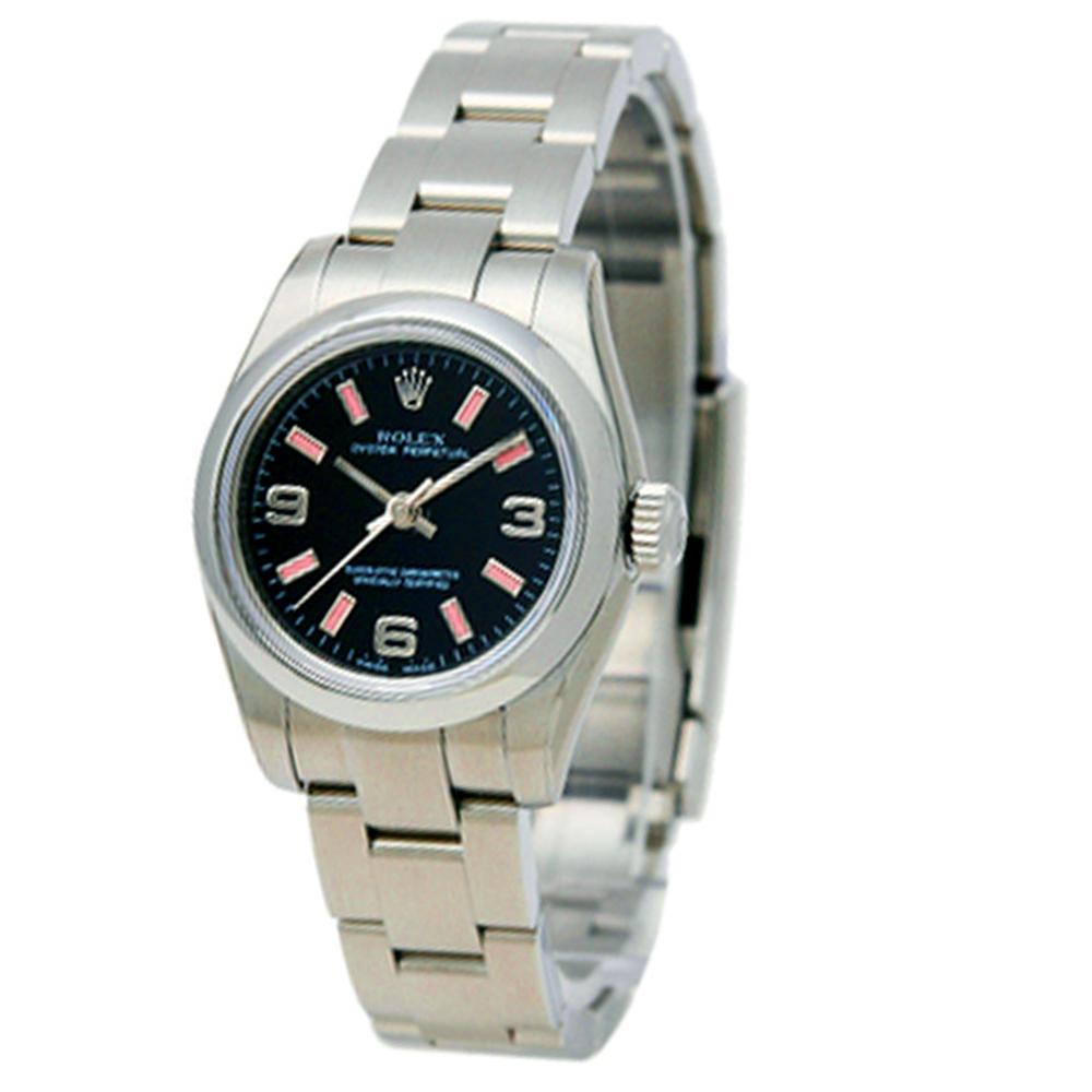 ROLEX 勞力士 176200 蠔式恆動機械腕錶-黑面粉紅色時標 26mm