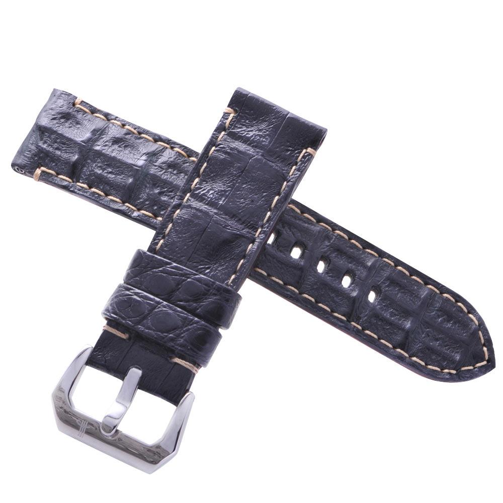 TED SU 太和錶帶 城市獵人Panerai 沛納海代用帶黑色鱷魚米色線-24*24mm