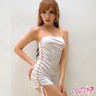 Caelia 雪白側邊綁帶賽車女郎緊身洋裝