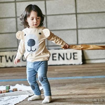 Lala韓國 象牙白熊熊長袖上衣
