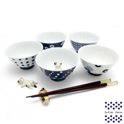 西海輕量波佐見燒五入飯碗組-藍丸紋