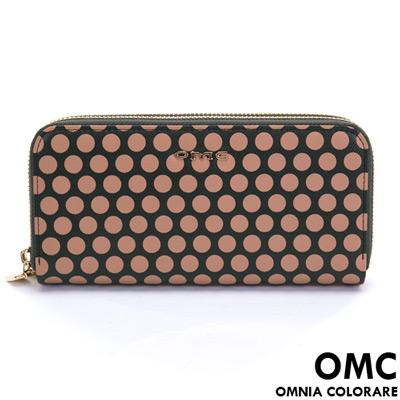 OMC - 韓國專櫃普普藝術風真皮雙拉鍊長夾-夜星辰