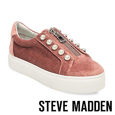 STEVE MADDEN-LYNN 珍珠鑲嵌拉鍊懶人鞋-咖啡