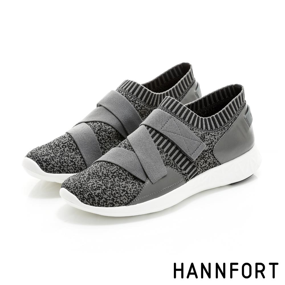 HANNFORT ICE暖心編織彈性帶時尚運動鞋-女-深灰-動態show