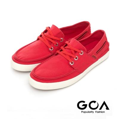 GOA 女款素面休閒低筒帆布鞋-紅色