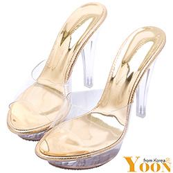潤YOON性感透明膠片金屬色高跟涼鞋