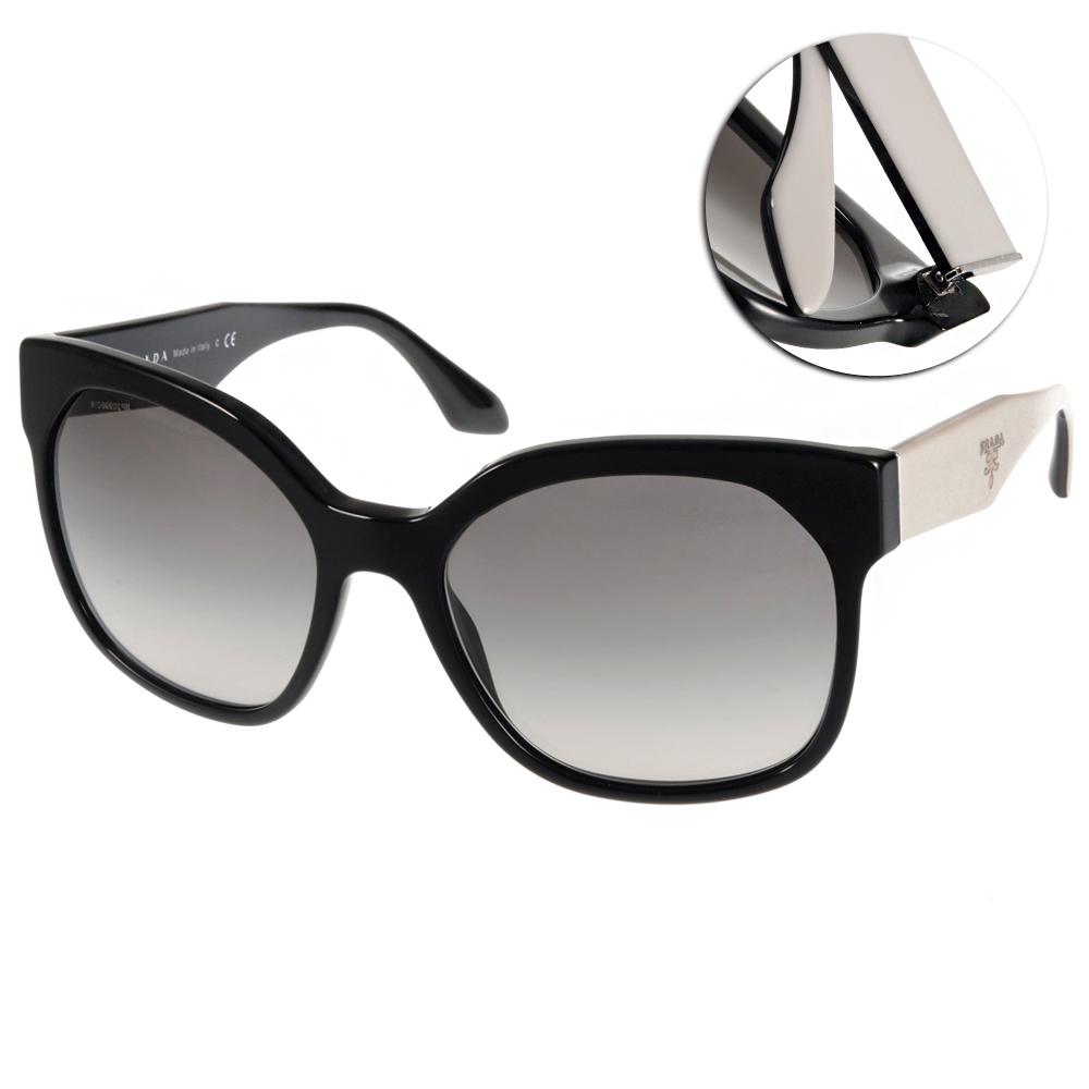 PRADA太陽眼鏡 質感貓眼款/黑-白#PR10R TKF0A7