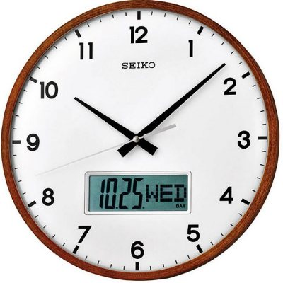 SEIKO 精工 木質外殼 星期/日期顯示 靜音掛鐘(QXL008B)-白/33cm